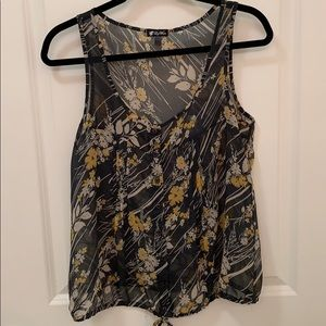 floral print chiffon button up tank in size L